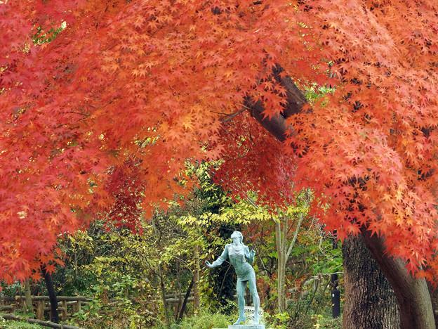 紅葉と彫刻2