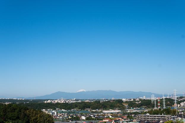 早朝ウォーキング【川和富士公園より:黄砂に霞む丹沢と富士山】
