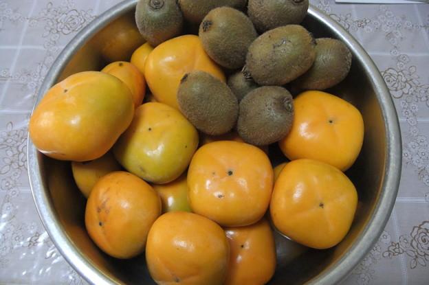平種無し柿とキウイ