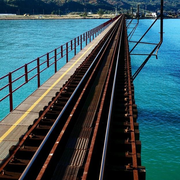 Railway, bridge and water