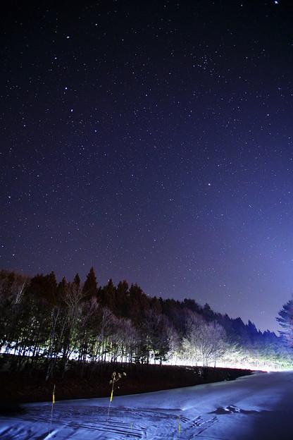 暗闇を割くヘッドライトと星空