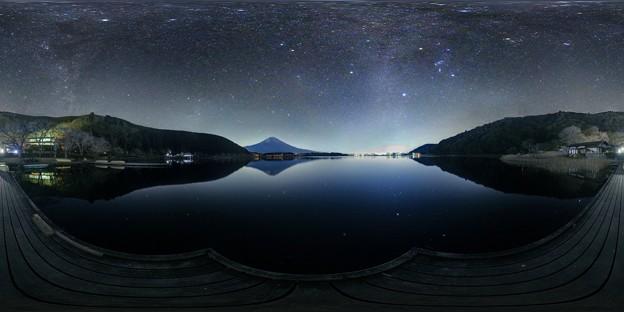 田貫湖の夜 ― 富士山 ― 冬の星空 360度パノラマ写真