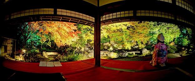 京都 圓徳院 北庭 パノラマ写真