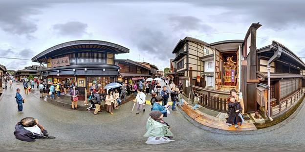 高山 街並みと屋台蔵(龍神台) 360度パノラマ写真