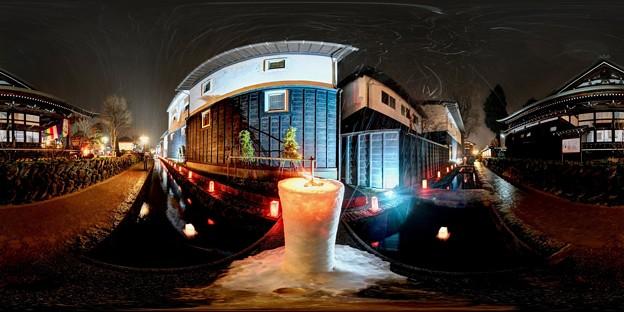飛騨古川 三寺参り  円光寺沿い瀬戸川 歩道  雪像ろうそく 360度パノラマ写真