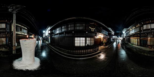飛騨古川 三寺参り  雪像ろうそく 渡辺酒造前 360度パノラマ写真