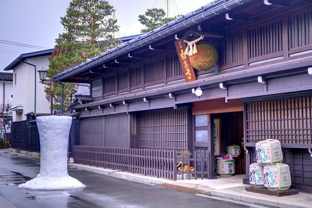 飛騨古川 蒲酒造場と雪像ろうそく
