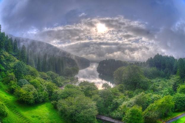 湖畔の朝 田貫湖 (フィシュアイ)