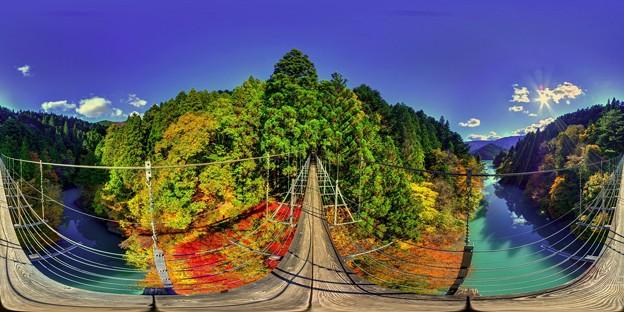 井川湖 夢の吊橋 紅葉 360度パノラマ写真(1)