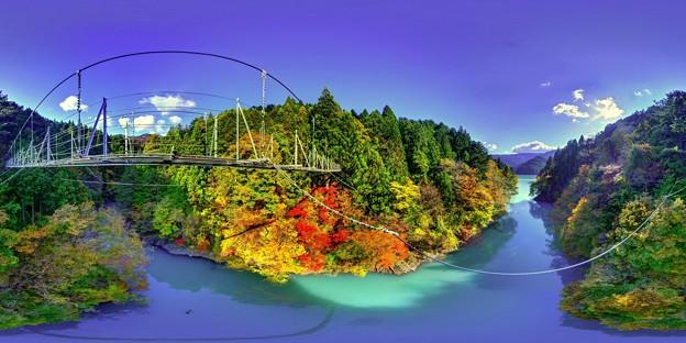 井川湖 夢の吊橋 紅葉 360度パノラマ写真(2)