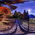 紅葉、井川湖畔遊歩道 360度パノラマ写真(2)