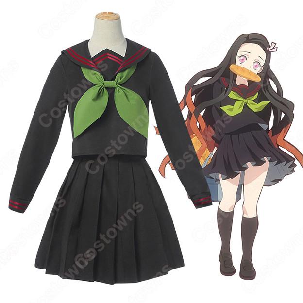 竈門禰豆子 キメツ学園 コスプレ衣装 【鬼滅の刃 番外編】 cosplay セーラー服