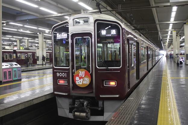 阪急宝塚線 9000系9001F 「初詣2018」ヘッドマーク付き 普通 雲雀丘花屋敷 行 (2)