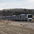 冬の田園風景を行く水戸線E531系3000番台 (1)