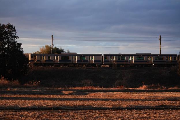 夕陽を浴びながら田園風景を行く水戸線E531系 (3)