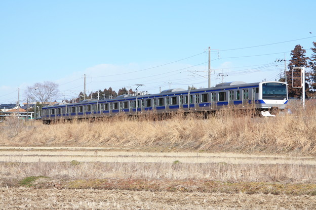 冬の田園風景を行く水戸線E531系 (1)