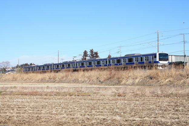 冬の田園風景を行く水戸線E531系 (2)