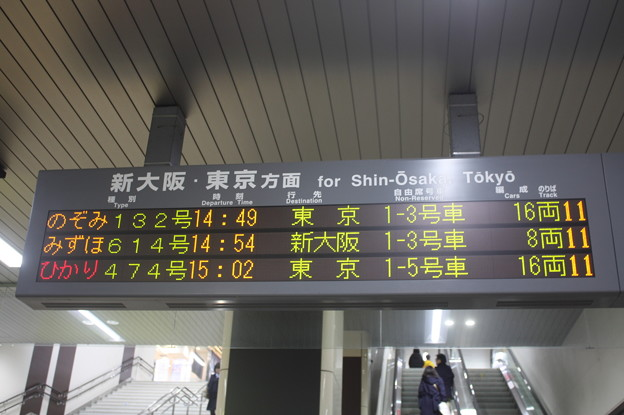 姫路駅 発車案内表示