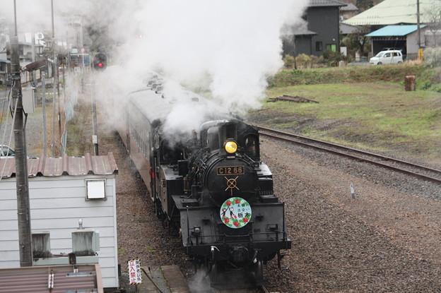 茂木駅構内でバックして入れ換えを行うSLもおかC12 66 (3)