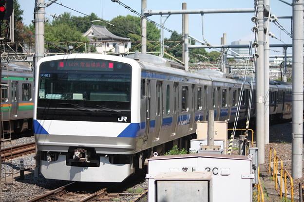 日暮里駅4番線を発車する常磐線E531系K401編成