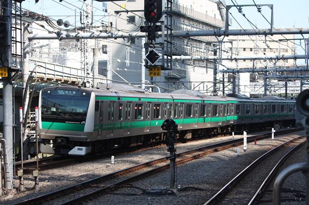 大崎駅5番線に到着するE233系7000番台ハエ118編成 各駅停車 大崎 行