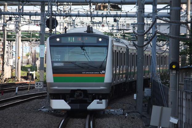 大崎駅8番線に到着する湘南新宿ラインE233系3000番台E‐66編成 普通 大崎 行