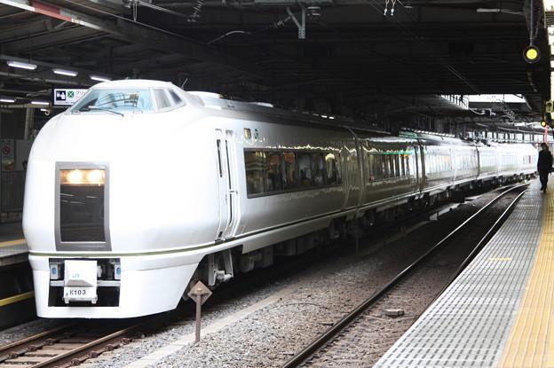品川駅12番線に停車中の651系K103編成 快速ぶらり横浜・鎌倉号 鎌倉 行 (1)