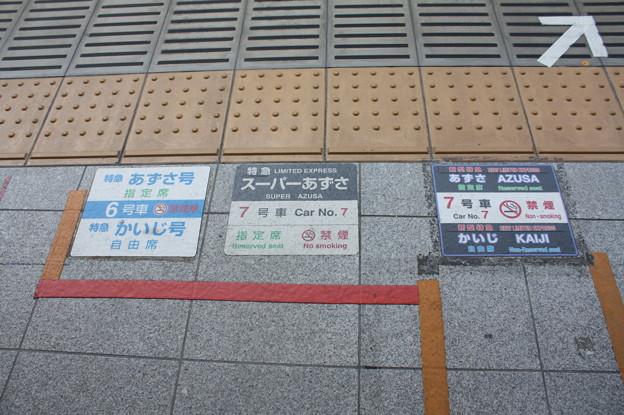 新宿駅 中央線特急乗車口ステッカー