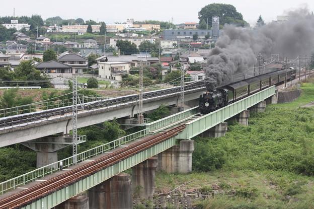 SLレトロ碓氷 D51 498+旧客6B+EF64 1052 安中鉄橋 (2)