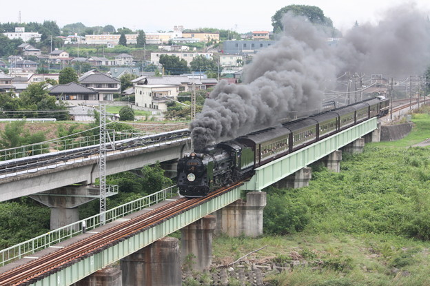 SLレトロ碓氷 D51 498+旧客6B+EF64 1052 安中鉄橋 (8)