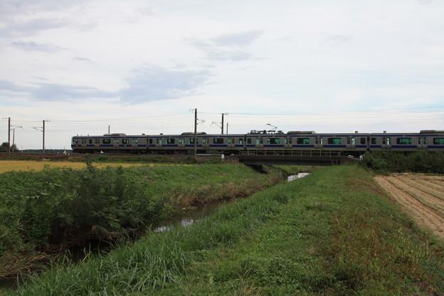 稲刈り後の光景を行くE531系 (10)