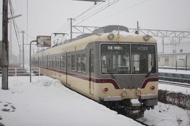 富山地方鉄道 14000系14765 普通 電鉄富山 行 雪の滑川駅発車