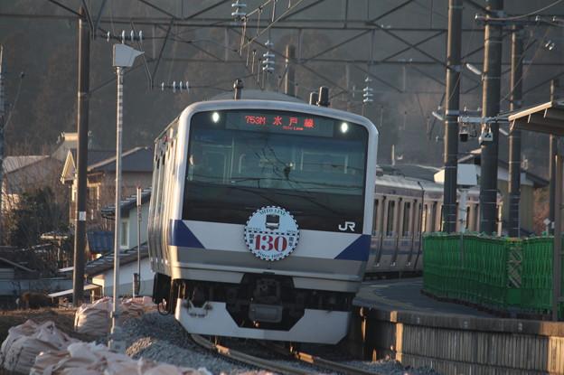水戸線 E531系K462編成「水戸線開業130周年」ヘッドマーク付き 753M 普通 友部 行 (2)