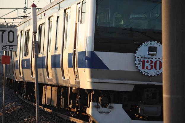 水戸線 E531系K462編成「水戸線開業130周年」ヘッドマーク 宍戸駅発車 (2)