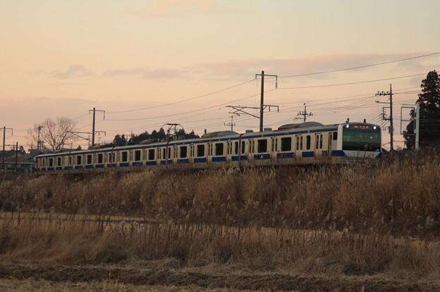 冬の田園風景を行くE531系 (1)