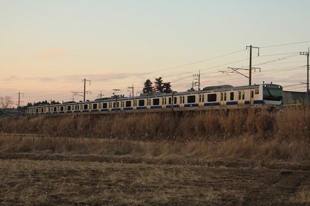 冬の田園風景を行くE531系 (2)