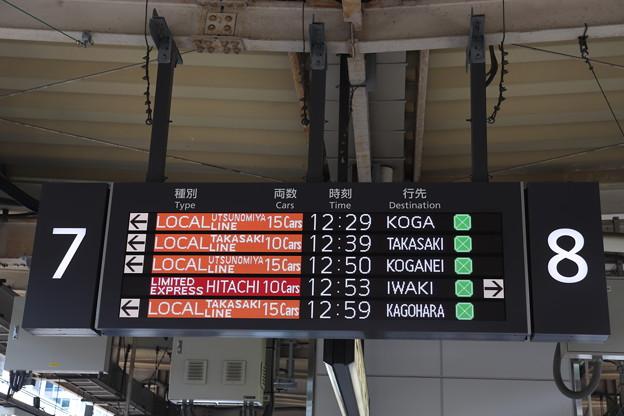 東京駅7番線・8番線発車案内表示 英語表示