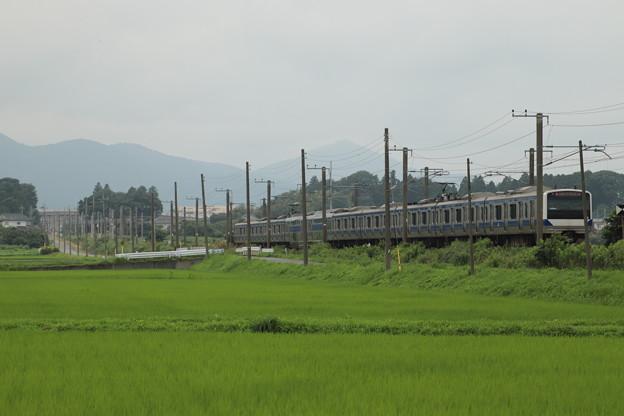 梅雨の田園風景を通過するE531系 2020.07.19 (23)
