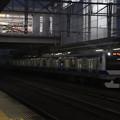 夕闇の中友部駅に到着する常磐線E531系 2021.02.01