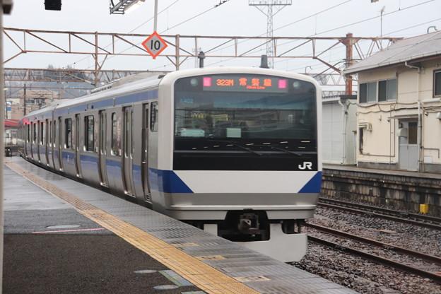 常磐線 E531系K402編成「笠間の栗」ラッピング 323M 普通 高萩 行 後追い 2021.02.02