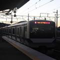夕焼けに染まって友部駅を発車する水戸線E531系 2021.02.02