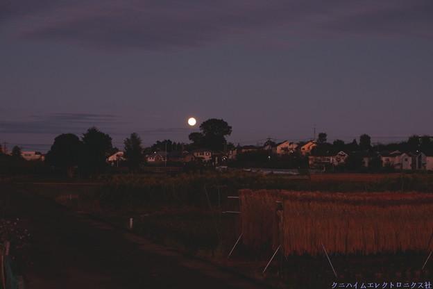 夕暮れ満月