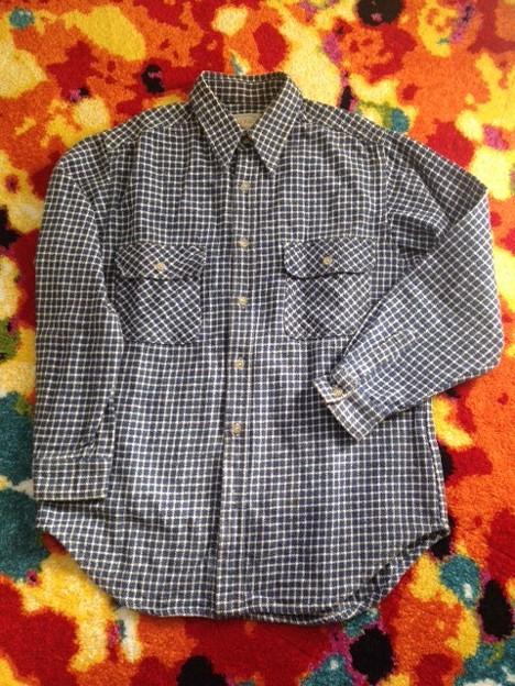 写真: 1)ネルシャツ 青 3ドル