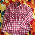 写真: 2)ネルシャツ 赤xグレー3ドル