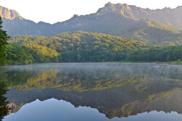 朝靄の鏡池