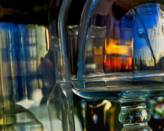 autumn sky inside of the glass