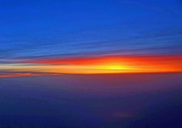 機上の日没