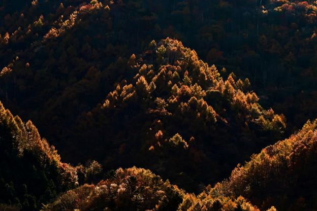 写真: 輝く山間