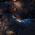 陽の当たる渓流