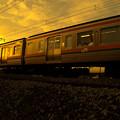 通勤電車(夕景)